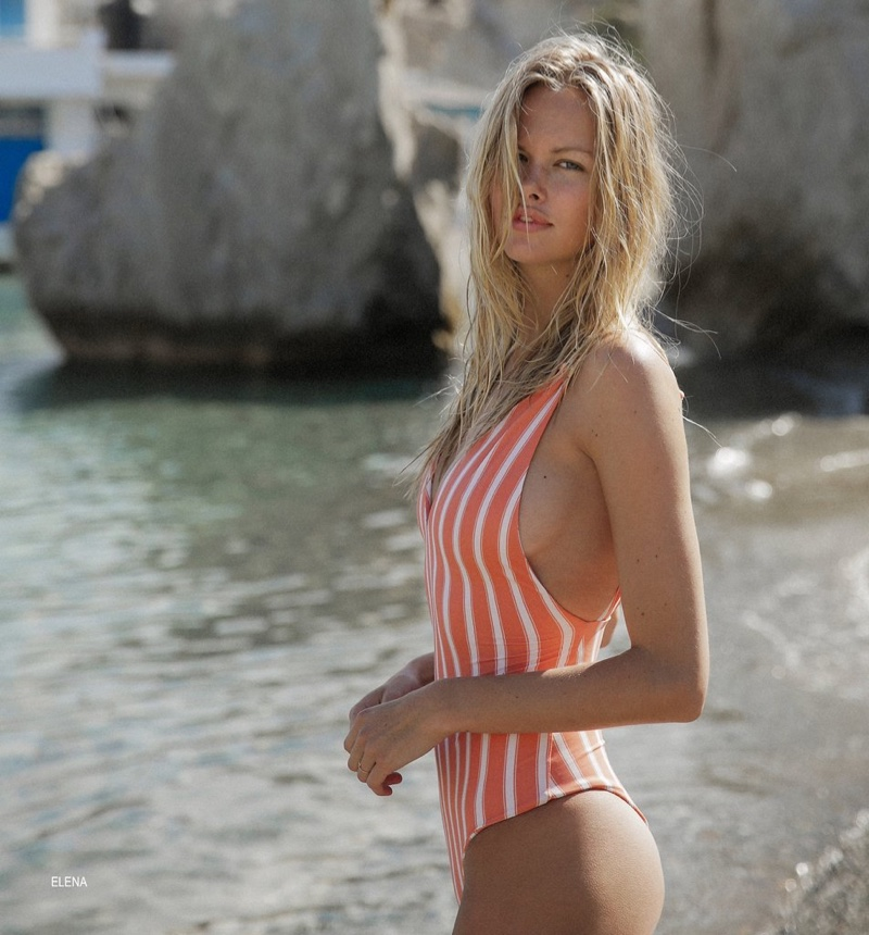 Emma Stern Nielsen models Elena one-piece swimsuit from Tori Praver swimwear