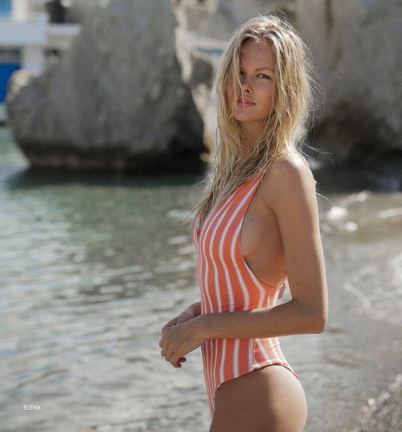 Emma Stern Nielsen models Elena one-piece swimsuit from Tori Praver swimwear