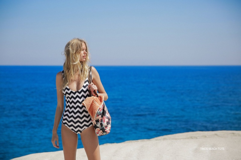 Emma Stern Nielsen wears Tori Praver Swimwear Tinos beach tote bag