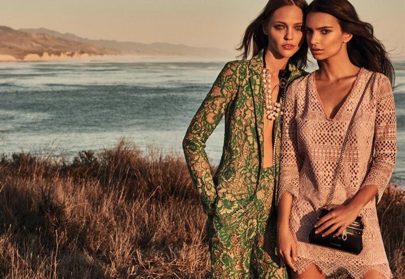 Sasha Pivovarova and Emily Ratajkowski wear bohemian style in Twin-Set's spring 2017 campaign