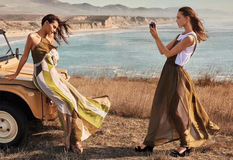 Emily Ratajkowski and Sasha Pivovarova model breezy maxi dresses in Twin-Set's spring 2017 campaign