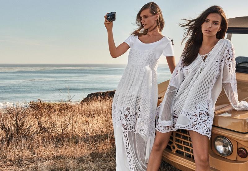 Sasha Pivovarova and Emily Ratajkowski wear crochet styles in Twin-Set's spring 2017 campaign