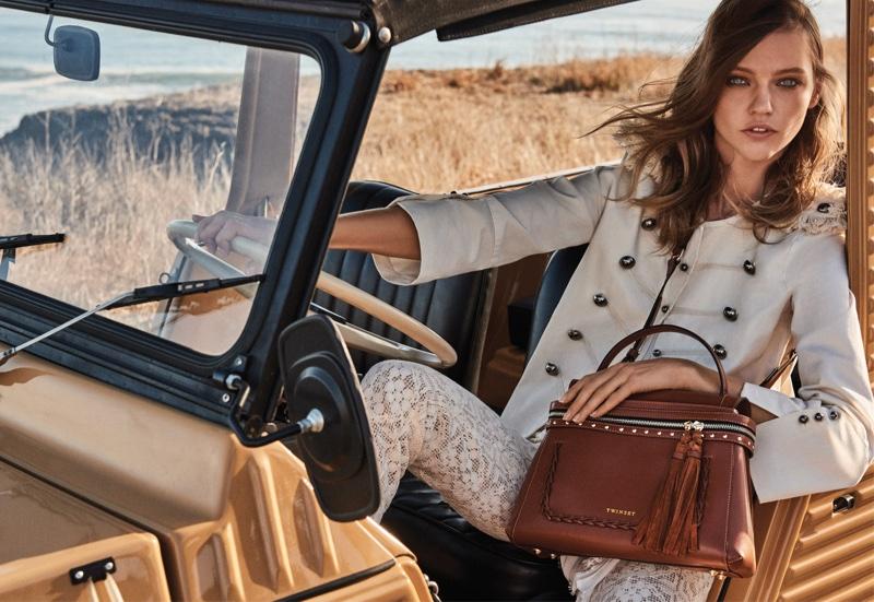 Posing outdoors, Sasha Pivovarova stars in Twin-Set's spring 2017 campaign