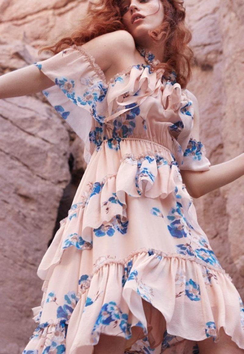 Julia Banas models ruffled, floral print dress in Ulla Johnson's spring 2017 campaign