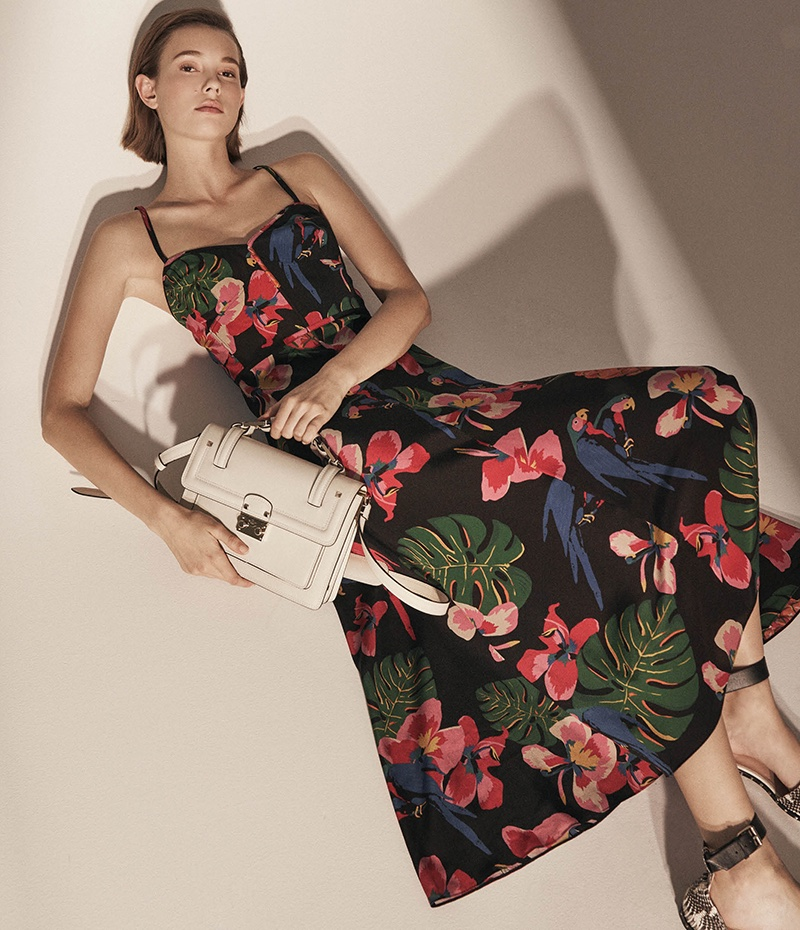Valentino Tropical-Print Silk Midi Dress, Lock Small Shoulder Bag and Soul Rockstud Snakeskin Ankle-Strap Sandals