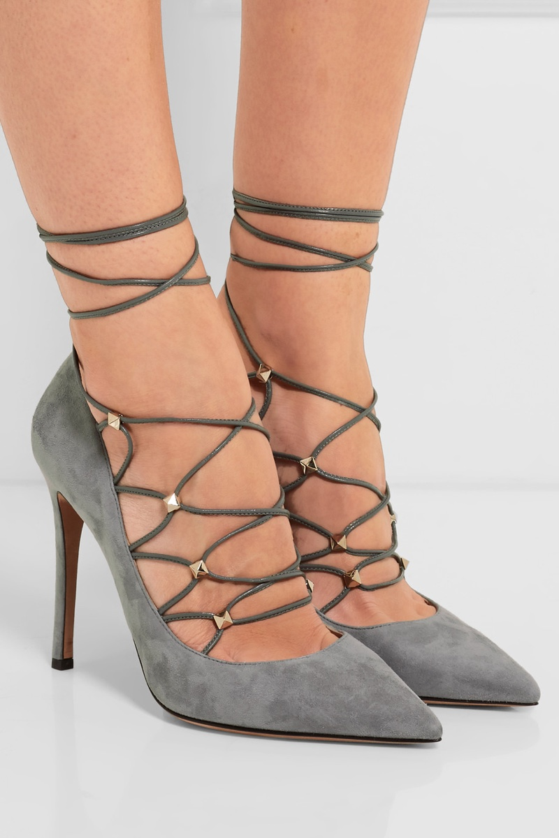 Valentino Rockstud Lace-Up Suede & Leather Pumps