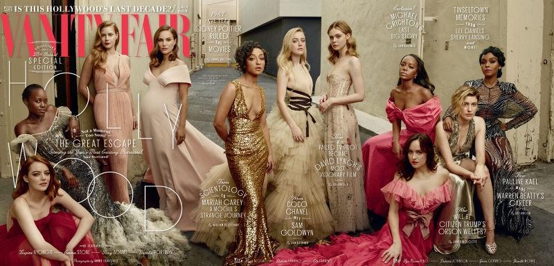 Emma Stone, Lupita Nyong'o, Amy Adams and Natalie Portman. Ruth Negga, Dakota Fanning and Elle Fanning. Dakota Johnson, Aja Naomi King, Greta Gerwig and Janelle Monae on Vanity Fair 2017 Hollywood Issue Cover