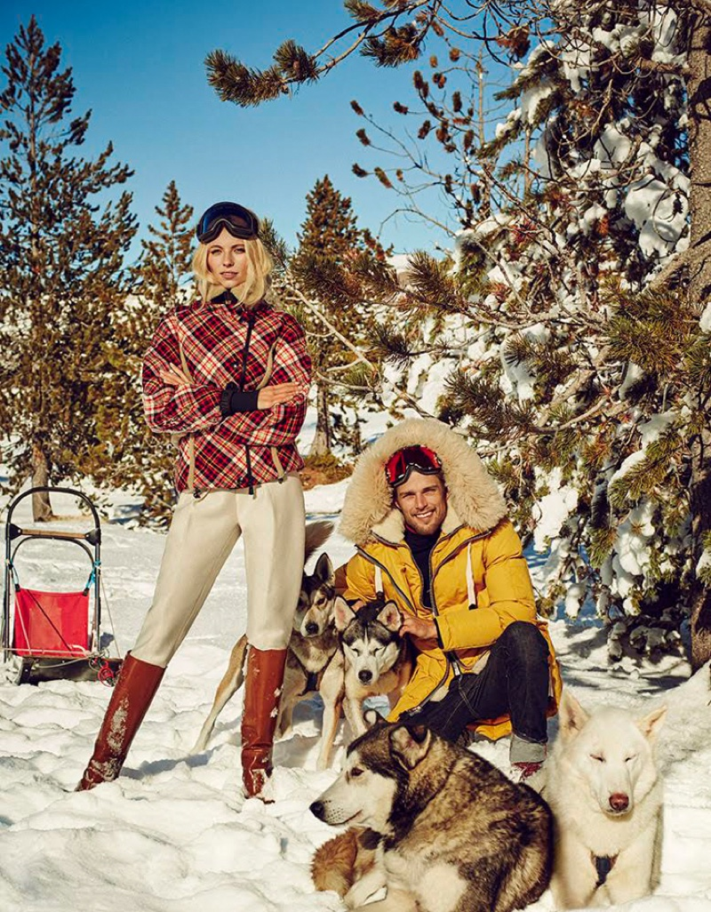 Vika Falileeva and Nils Butler pose in ski fashions for the editorial