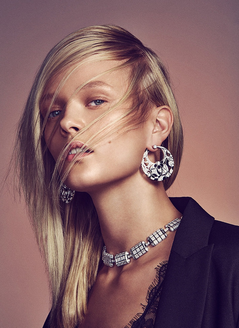 Photographed by Richard Ramos, the model stars in a jewelry spread