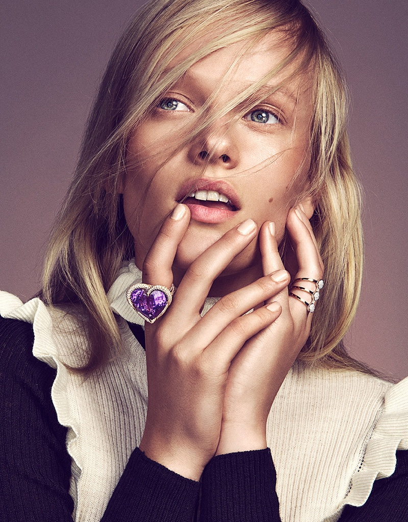 Vivien Wysocki poses with sparkling rings
