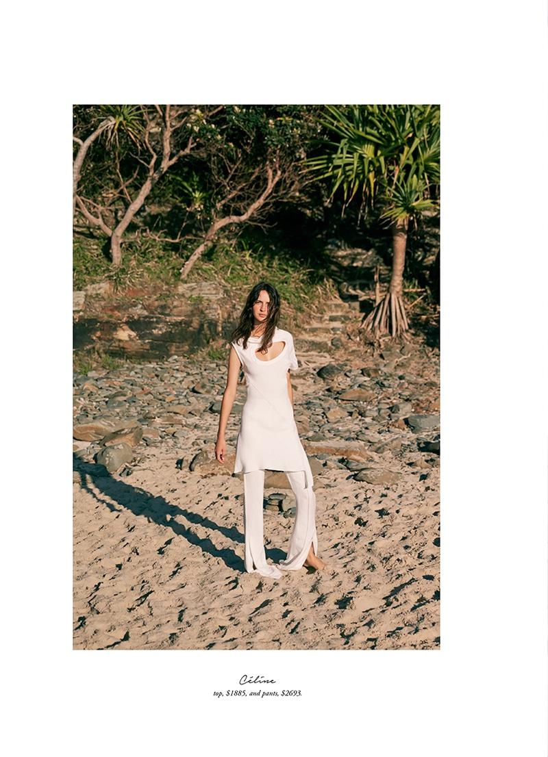Model Waleska Gorczevski wears Celine tunic and pants