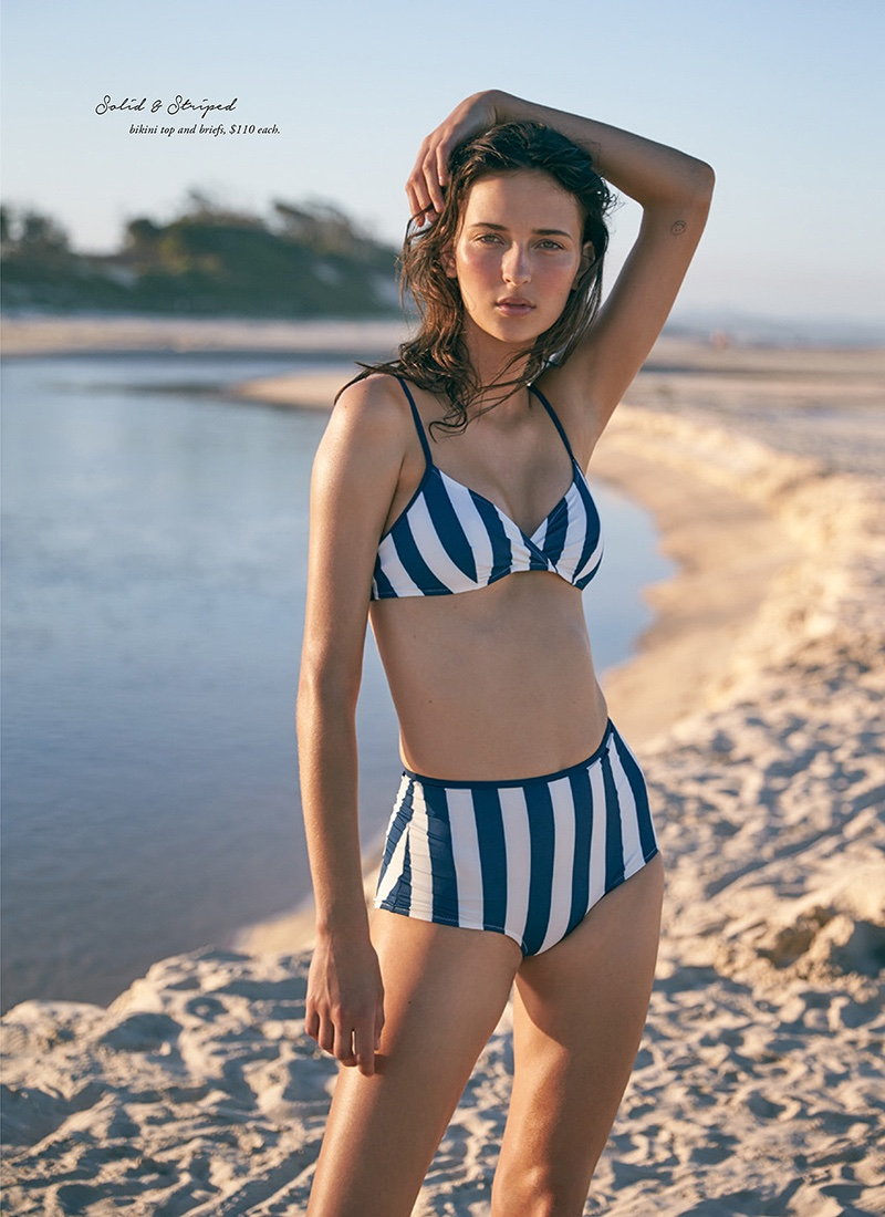Getting nautical, the model wears Solid & Striped bikini top and briefs