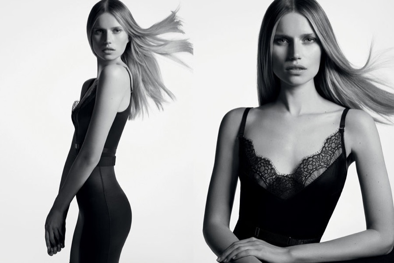 Clad in lace, Cato Van Ee stars in Wolford's spring-summer 2017 campaign