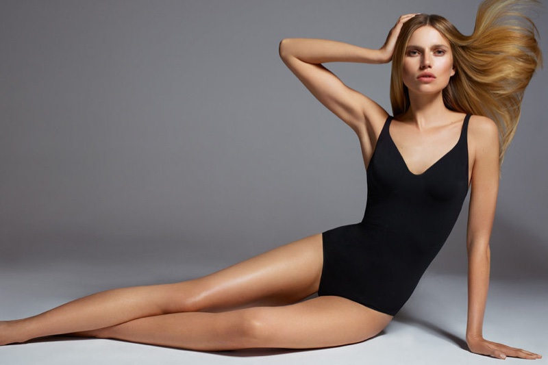 Cato Van Ee wears black shapewear in Wolford's spring 2017 campaign