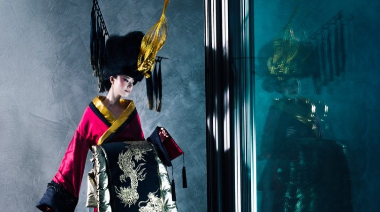 Photographed by Markus&Koala, the model poses in designs from Junko Koshino
