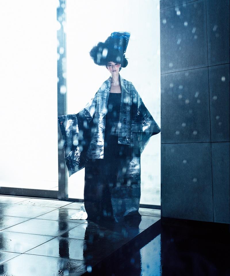 Photographed in Tokyo, Yui Nikaido wears Junko Koshino