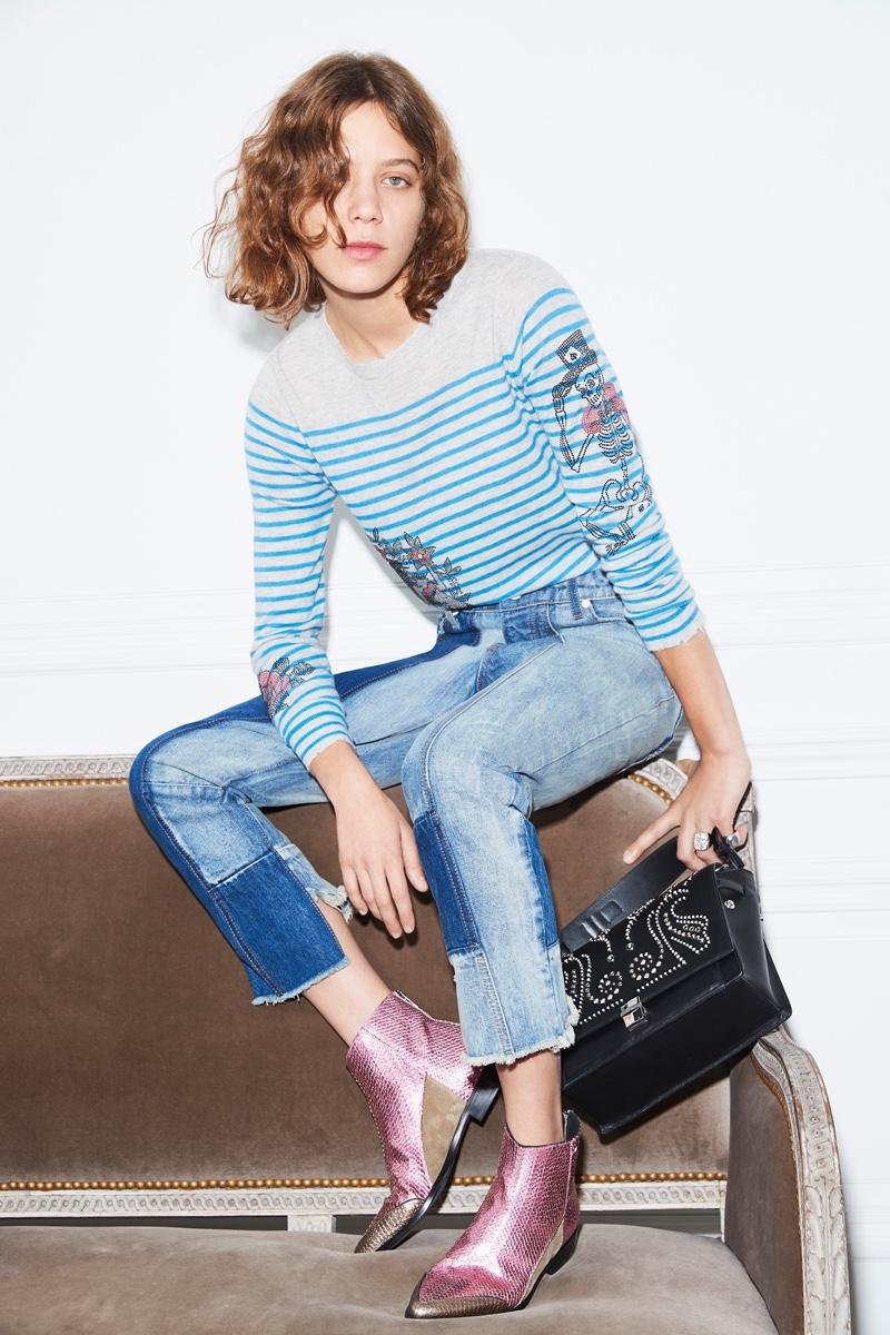 Clara 3000 rocks striped sweater and denim in Zadig & Voltaire's spring 2017 campaign