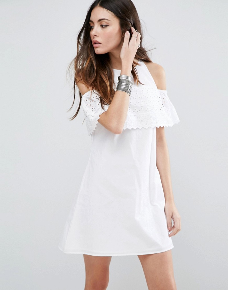 ASOS Broderie Cold Shoulder Sundress