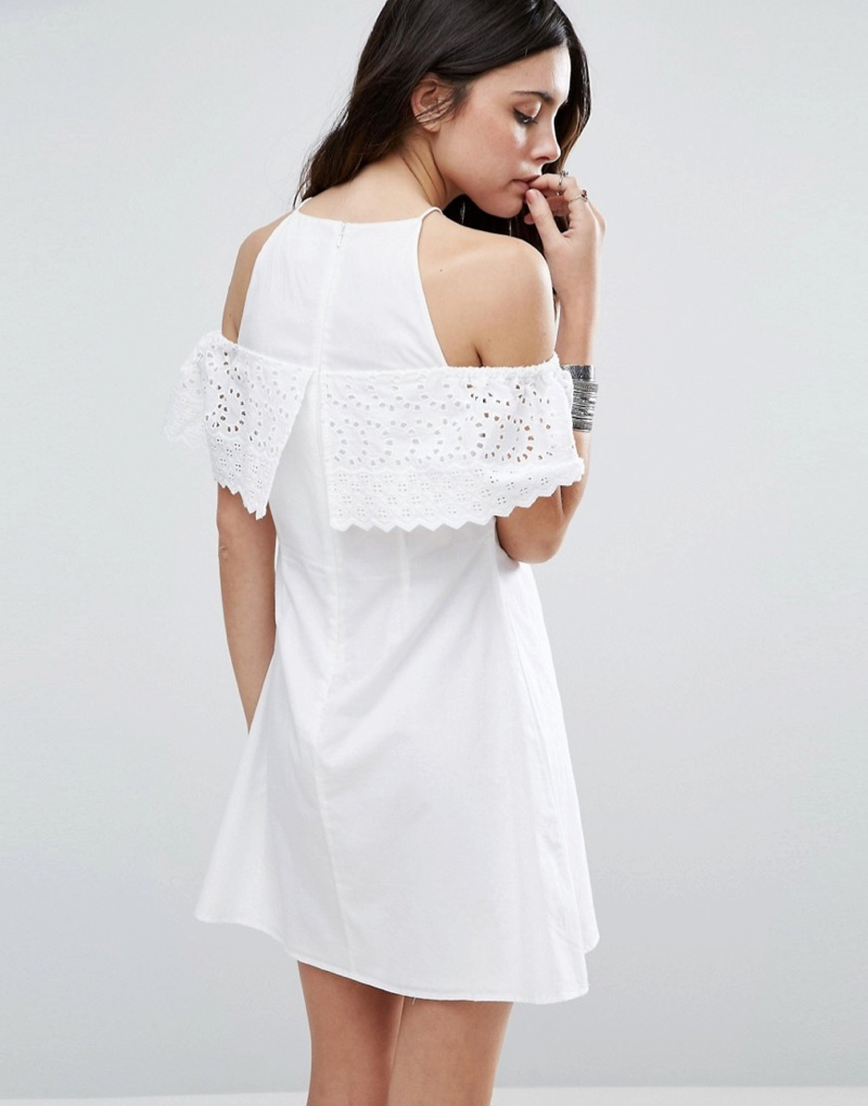 ASOS' cotton dress features broderie anglaise overlay