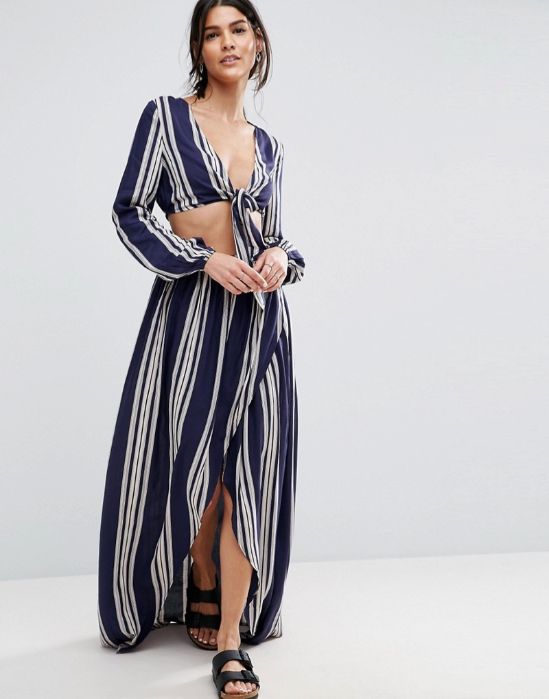 Striped Beach Cover Up