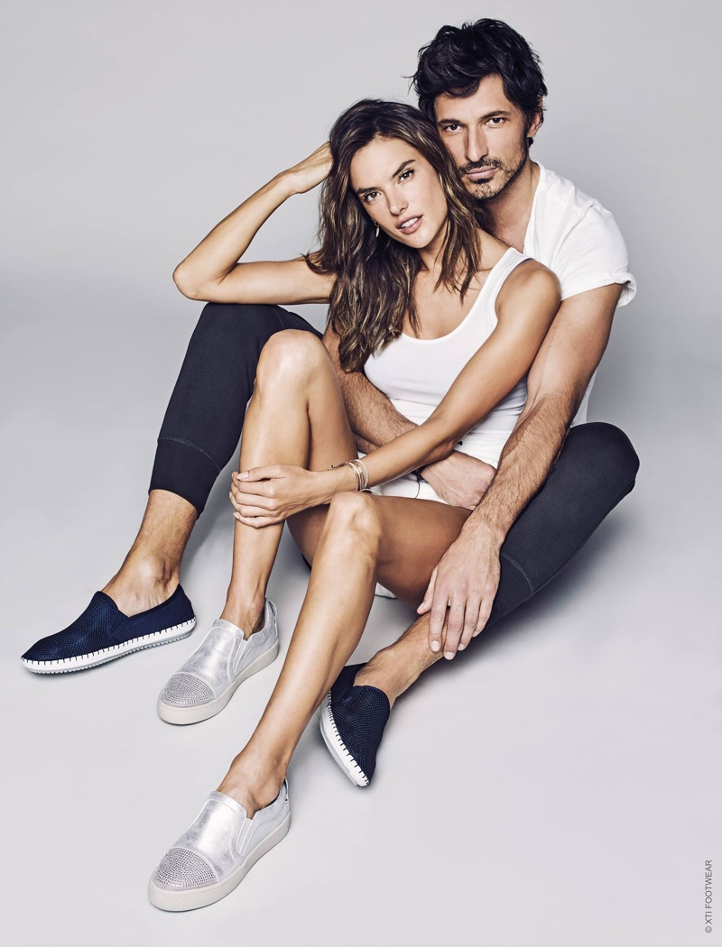 Alessandra Ambrosio and Andres Velencoso cozy up in XTI Shoes' slip-on styles