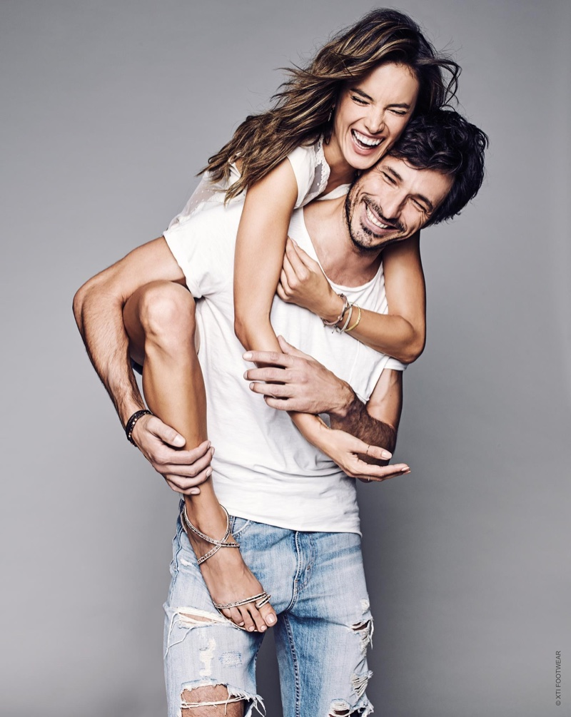 Alessandra Ambrosio and Andres Velencoso are all smiles in XTI Shoes' spring 2017 campaign
