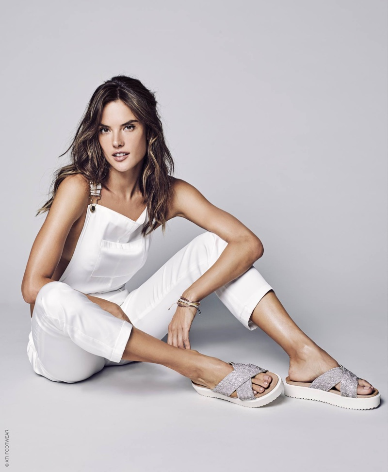 An image from XTI Shoes' spring 2017 advertising campaign starring Alessandra Ambrosio