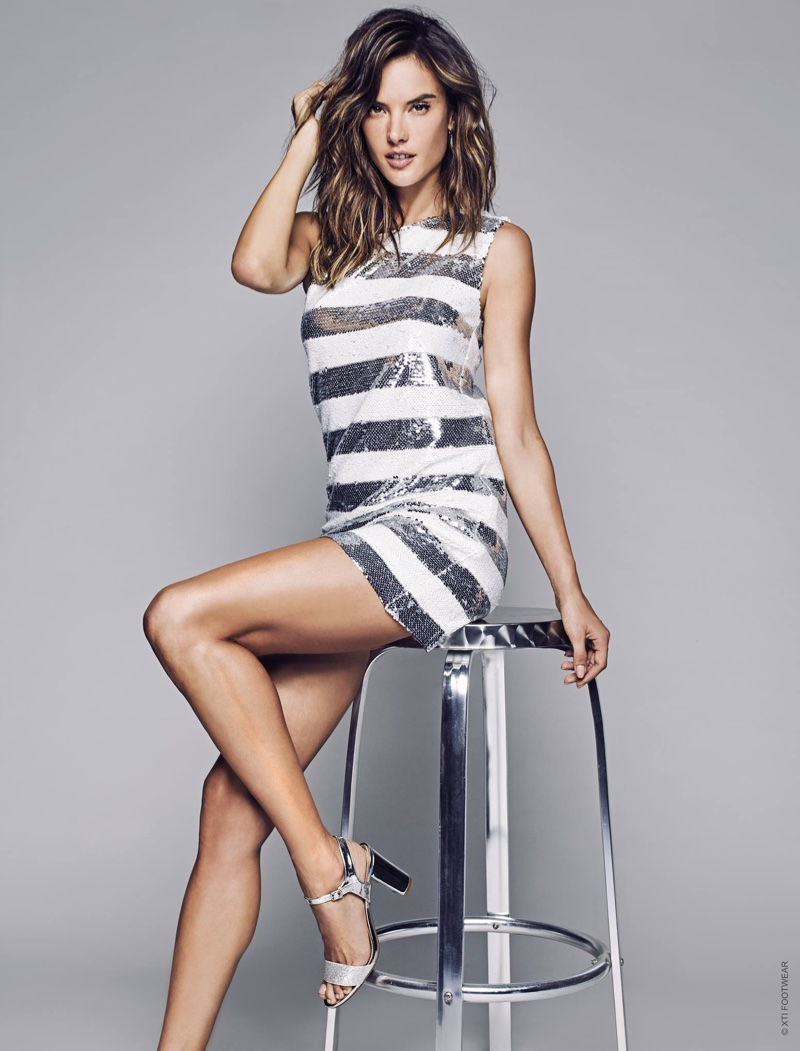Turning on the shine factor, Alessandra Ambrosio wears silver heeled sandals in XTI Shoes' spring 2017 campaign