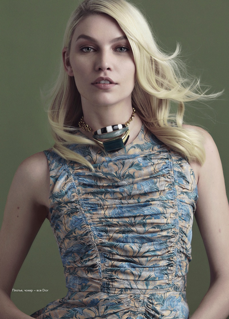 Aline Weber models Dior necklace and dress
