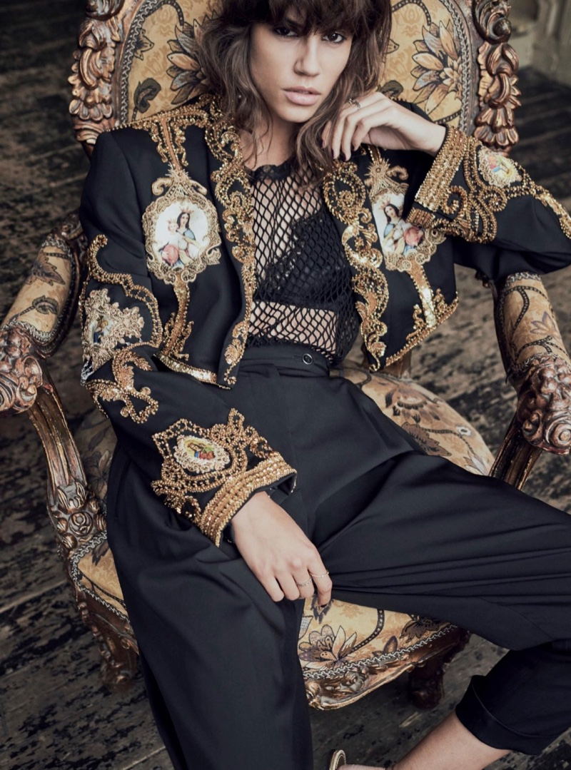 Antonina Petkovic models Dolce & Gabbana embroidered jacket, wool trousers and mesh top