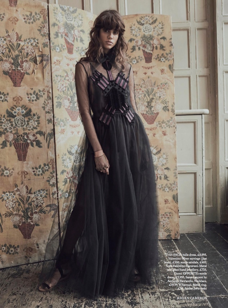Model Antonina Petkovic poses in Valentino tulle dress and suede sandals