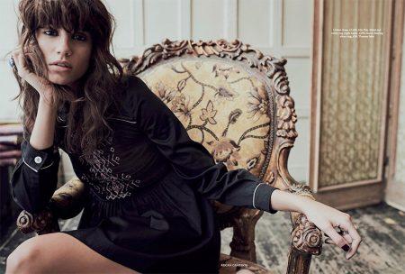 Antonina Petkovic poses in Miu Miu cotton dress