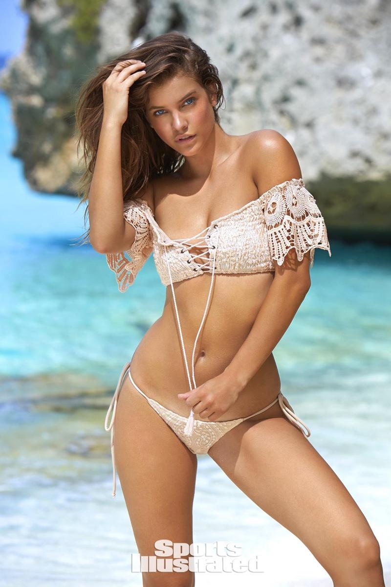 Barbara Palvin models SKY crochet swim top and bottoms