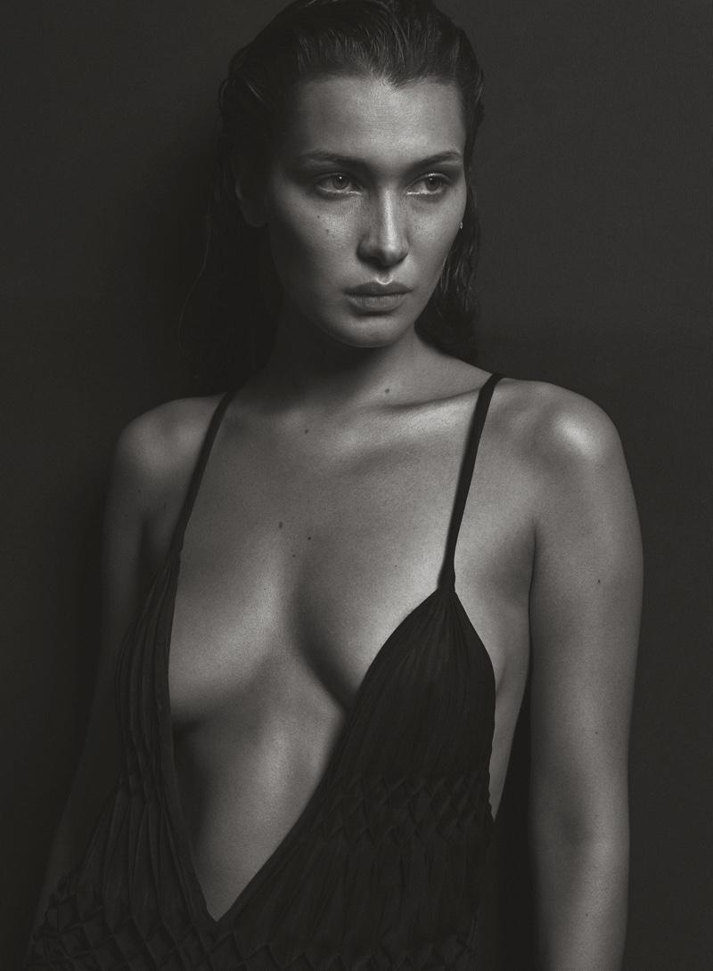 Flaunting some cleavage, Bella Hadid wears Haider Ackermann dress