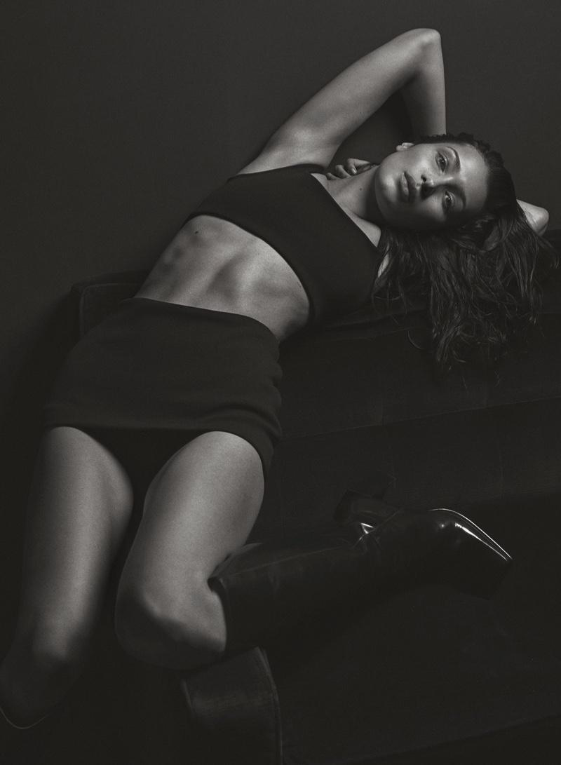 Bella Hadid models Prada top and shorts