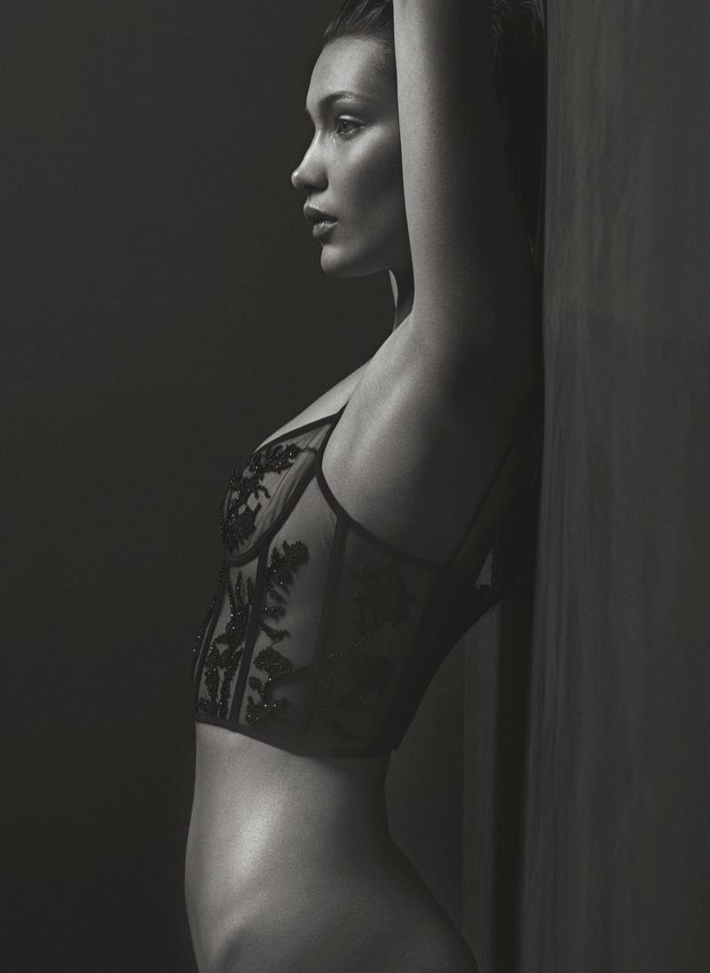Showing off her figure, Bella Hadid models Alexander McQueen corset