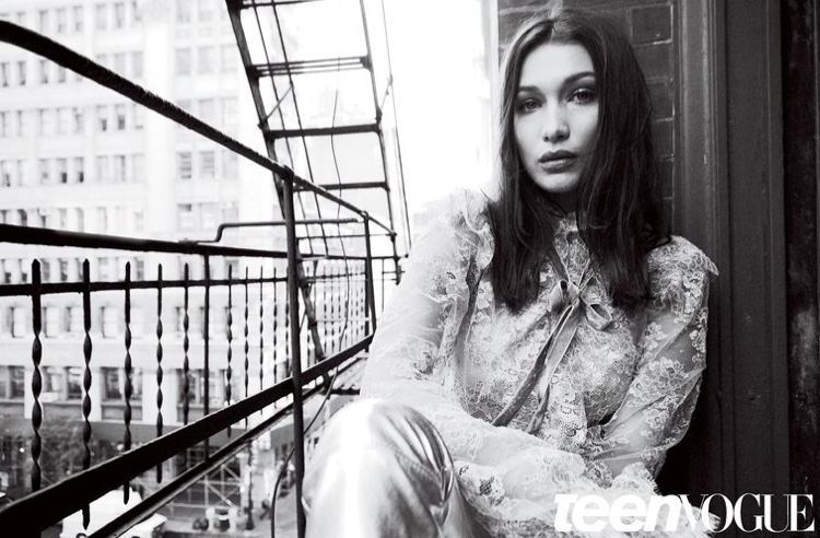 Model Bella Hadid wears lace top and trousers