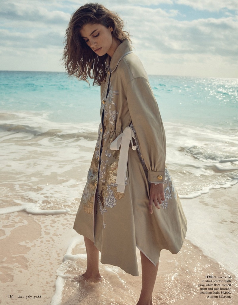 Fendi Trench Coat in Khaki Cotton with Floral Stencil Print and Gold Brocade Detailing