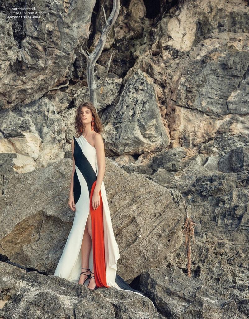 Naeem Khan Colorblock One-Shoulder Gown