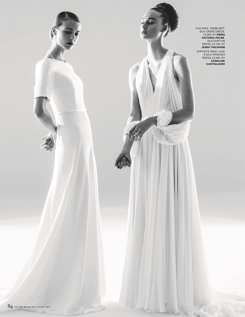 Aveen Lane and Anna Rose model Emma Victoria Payne silk-crepe dress (left) and Jenny Packham silk-chiffon dress (right)