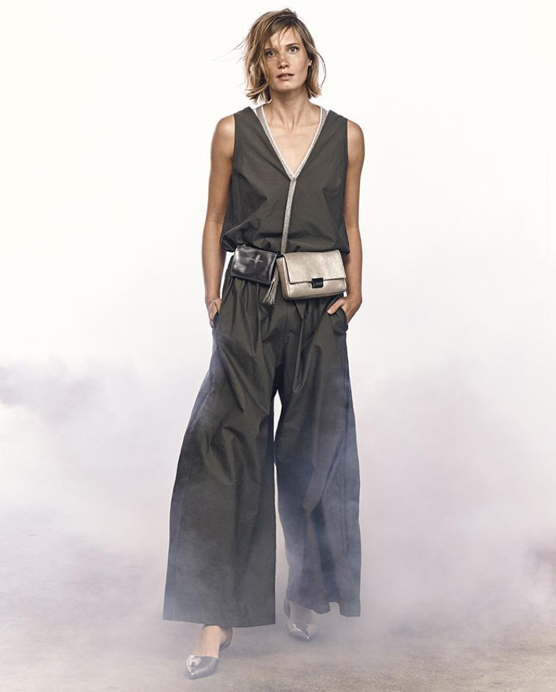Brunello Cucinellli Sleeveless Silk Tunic with Monili Necklace, Poplin Wide-Leg-Sleeveless Jumpsuit and Metallic Leather Double-Pouch Belt Bag