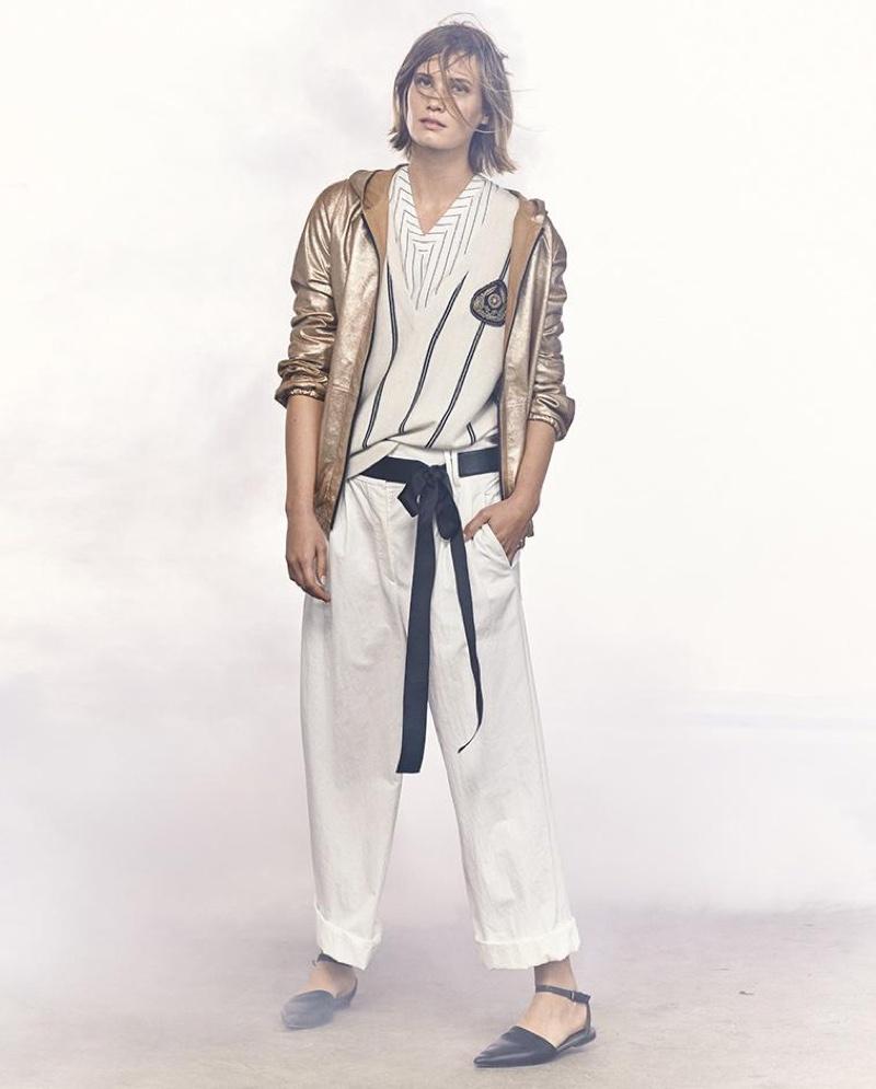 Brunello Cucinellli Hooded Metallic Leather Jacket, Striped Cashmere V-Neck Cardigan, Striped V-Neck Ruffled-Hem Tank and Lightweight Wide-Leg Cropped Pants
