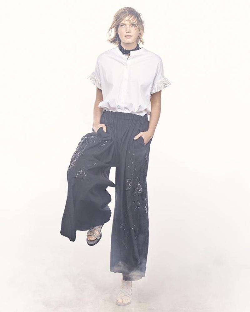 Brunello Cucinellli Agate Multi-Strand Beaded Choker Necklace, Oversized Mandarin-Collar Blouse and Paillette-Embellished Wide-Leg Pants