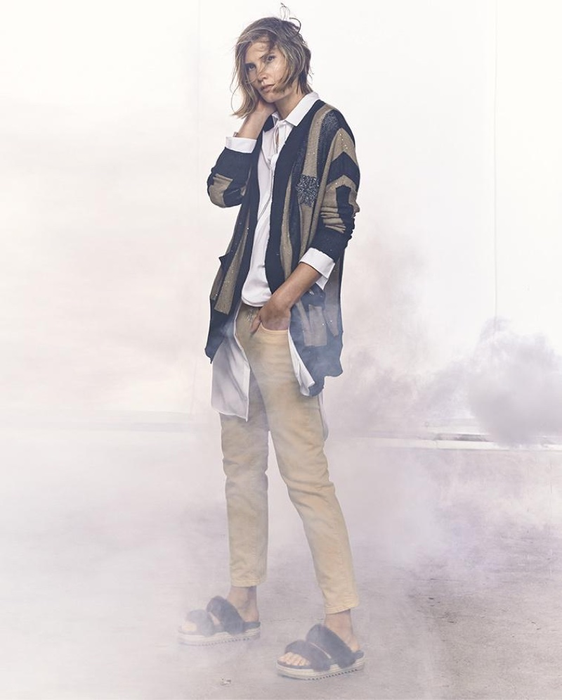 Brunello Cucinellli Sequined Collegiate-Stripe Cardigan, Monili-Trim Side-Slit Long Tunic, Long Multi-Strand Monili Fringe Necklace and Garment-Dyed Cropped Jeans