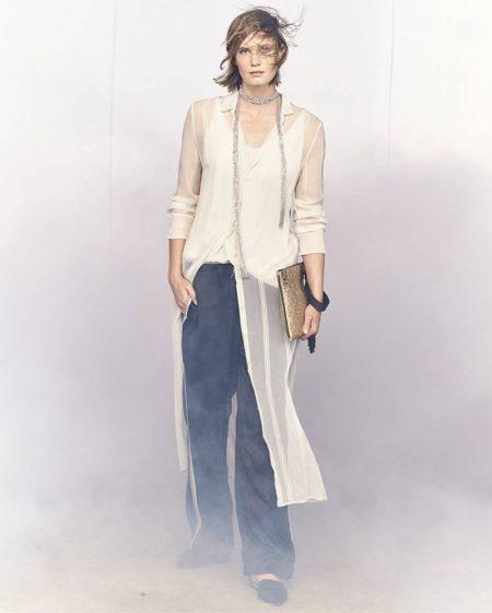 Brunello Cucinellli Long Multi-Strand Monili Wrap Necklace, Striped Sheer Silk Maxi Shirt and Satin Track-Stripe Wide-Leg Pants