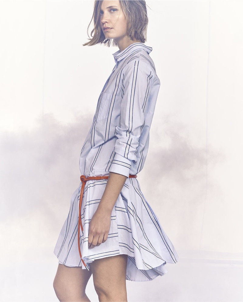 Brunello Cucinellli Micro-Paillette Striped Shirtdress and Glossy Leather Tie Belt with Loop