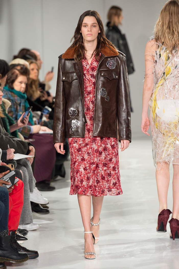Leather jacket over floral print dress from Calvin Klein Collection fall-winter 2017