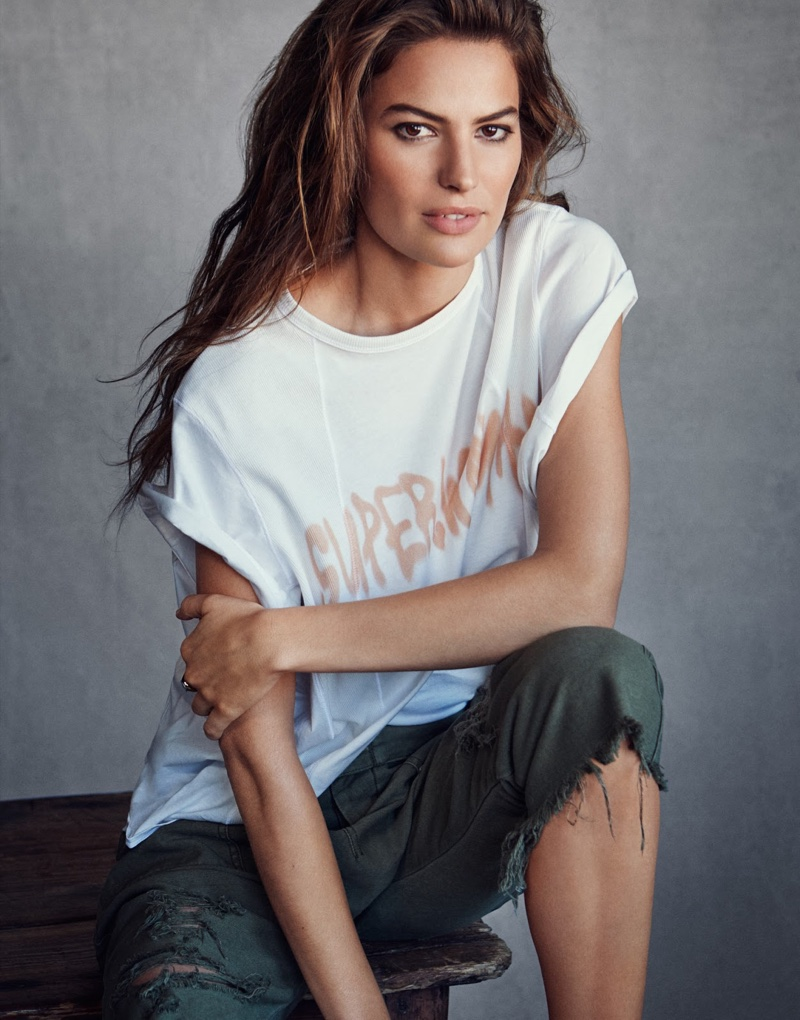 Keeping it casual, Cameron Russell wears Chloe t-shirt, R13 pants and J.W. Anderson ring