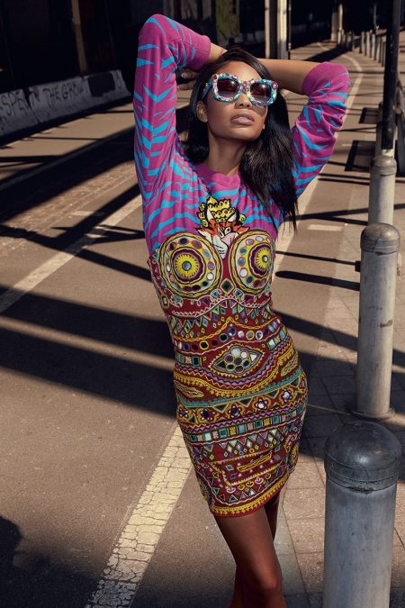 Chanel Iman Poses in Moschino's Groovy Styles for S Moda