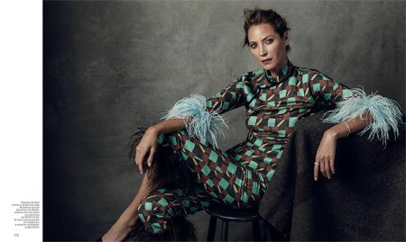 Christy Turlington models Prada printed shirt and pants